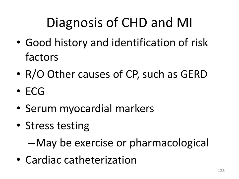 Diagnosis of CHD and MI 127