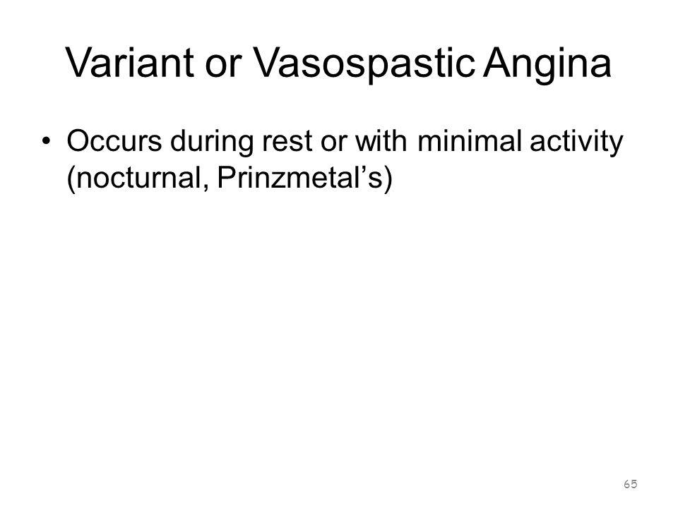 Variant or Vasospastic Angina 64