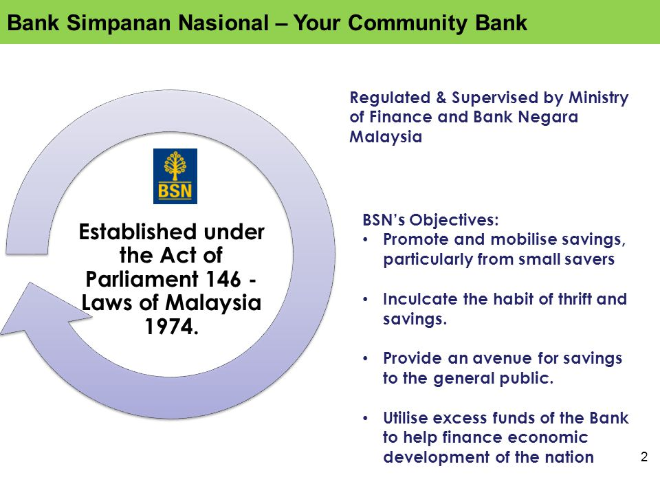 2 Regulated & Supervised by Ministry of Finance and Bank Negara Malaysia BSN's Objectives: Promote and mobilise savings, particularly from small savers Inculcate the habit of thrift and savings.