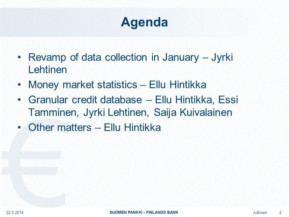Julkinen Agenda Revamp of data collection in January – Jyrki Lehtinen Money market statistics – Ellu Hintikka Granular credit database – Ellu Hintikka