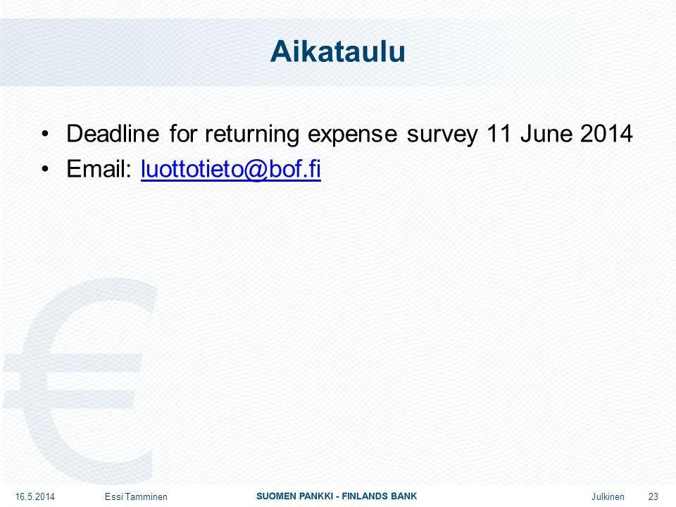 Julkinen Aikataulu Deadline for returning expense survey 11 June 2014 Email: luottotieto@bof.filuottotieto@bof.fi 16.5.2014Essi Tamminen 23
