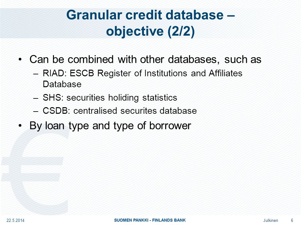 Julkinen Analytical credit database – ACDB Analytical credit database Reporters: BSI REPORTERS Content of database: DEFINITION OF LOAN Structure of database: DATA CONTENT Frequency: QUARTERLY