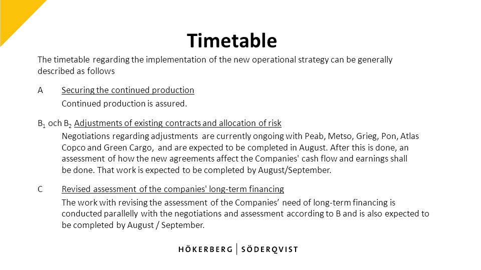 Timetable The timetable regarding the implementation of the new operational strategy can be generally described as follows ASecuring the continued production Continued production is assured.