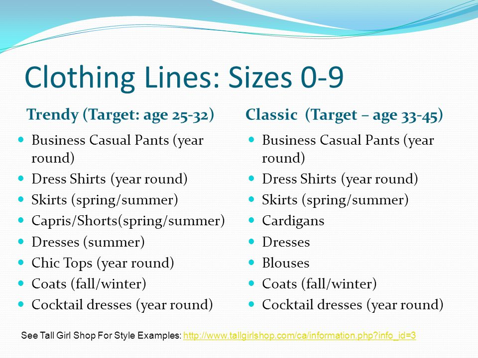 Clothing Lines: Sizes 0-9 Trendy (Target: age 25-32) Classic (Target – age 33-45) Business Casual Pants (year round) Dress Shirts (year round) Skirts (spring/summer) Capris/Shorts(spring/summer) Dresses (summer) Chic Tops (year round) Coats (fall/winter) Cocktail dresses (year round) Business Casual Pants (year round) Dress Shirts (year round) Skirts (spring/summer) Cardigans Dresses Blouses Coats (fall/winter) Cocktail dresses (year round) See Tall Girl Shop For Style Examples: http://www.tallgirlshop.com/ca/information.php info_id=3http://www.tallgirlshop.com/ca/information.php info_id=3