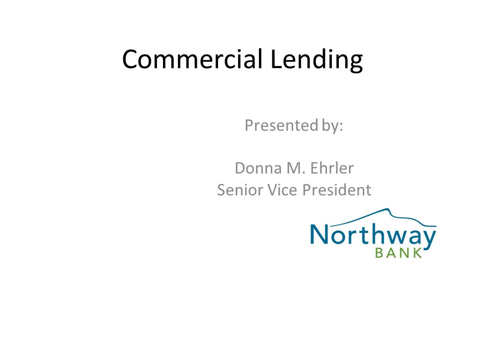 Commercial Lending Presented by: Donna M. Ehrler Senior Vice President
