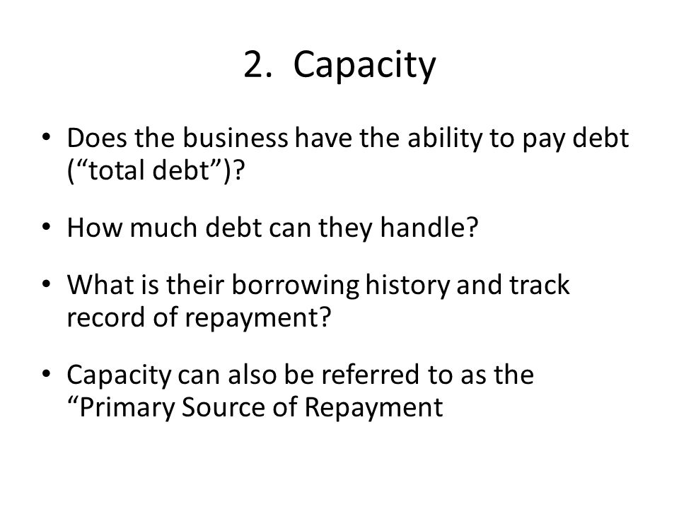 Does the business have the ability to pay debt ( total debt ).