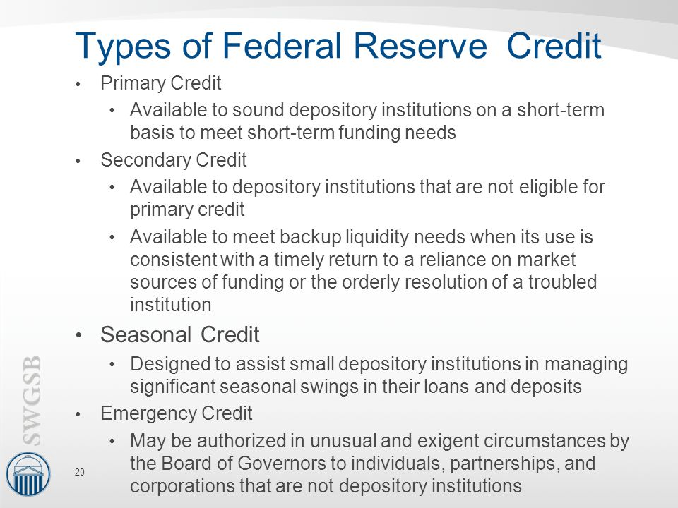 Types of Federal Reserve Credit Primary Credit Available to sound depository institutions on a short-term basis to meet short-term funding needs Secondary Credit Available to depository institutions that are not eligible for primary credit Available to meet backup liquidity needs when its use is consistent with a timely return to a reliance on market sources of funding or the orderly resolution of a troubled institution Seasonal Credit Designed to assist small depository institutions in managing significant seasonal swings in their loans and deposits Emergency Credit May be authorized in unusual and exigent circumstances by the Board of Governors to individuals, partnerships, and corporations that are not depository institutions 20