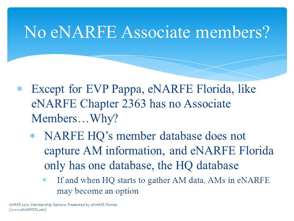  Except for EVP Pappa, eNARFE Florida, like eNARFE Chapter 2363 has no Associate Members…Why.
