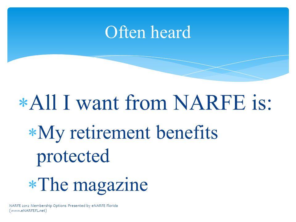 Often heard  All I want from NARFE is:  My retirement benefits protected  The magazine NARFE 2012 Membership Options Presented by eNARFE Florida (www.eNARFEFL.net)