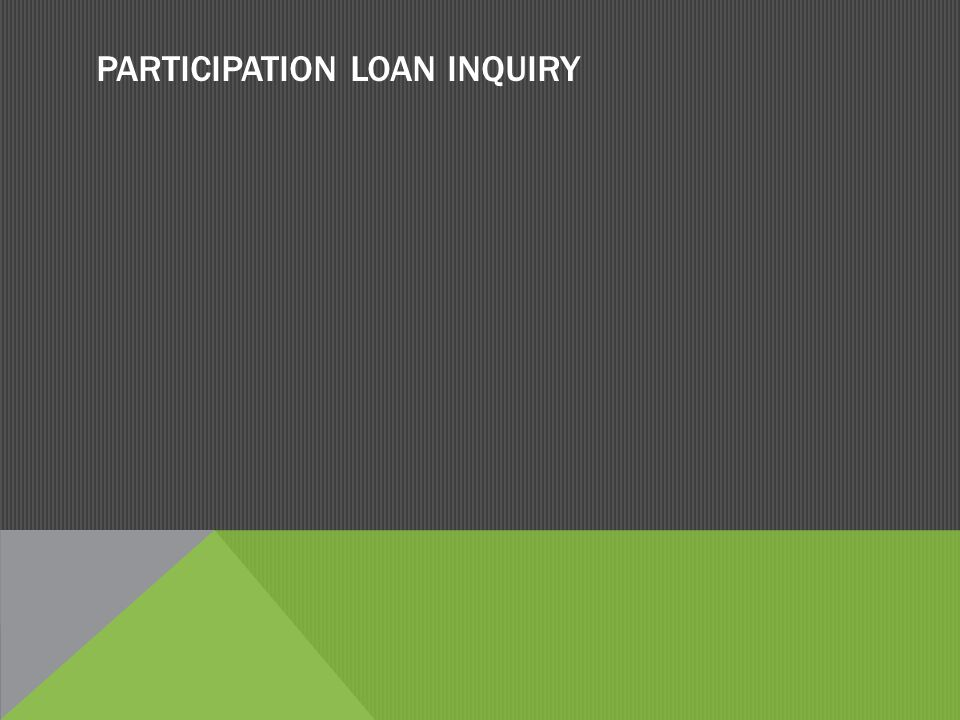 PARTICIPATION LOAN INQUIRY