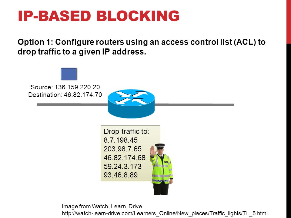 IP-BASED BLOCKING Option 1: Configure routers using an access control list (ACL) to drop traffic to a given IP address.