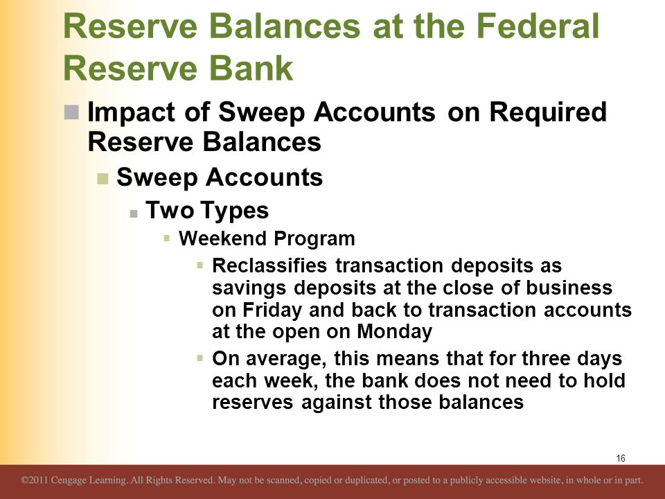 Reserve Balances at the Federal Reserve Bank Impact of Sweep Accounts on Required Reserve Balances Sweep Accounts Two Types  Weekend Program  Reclas