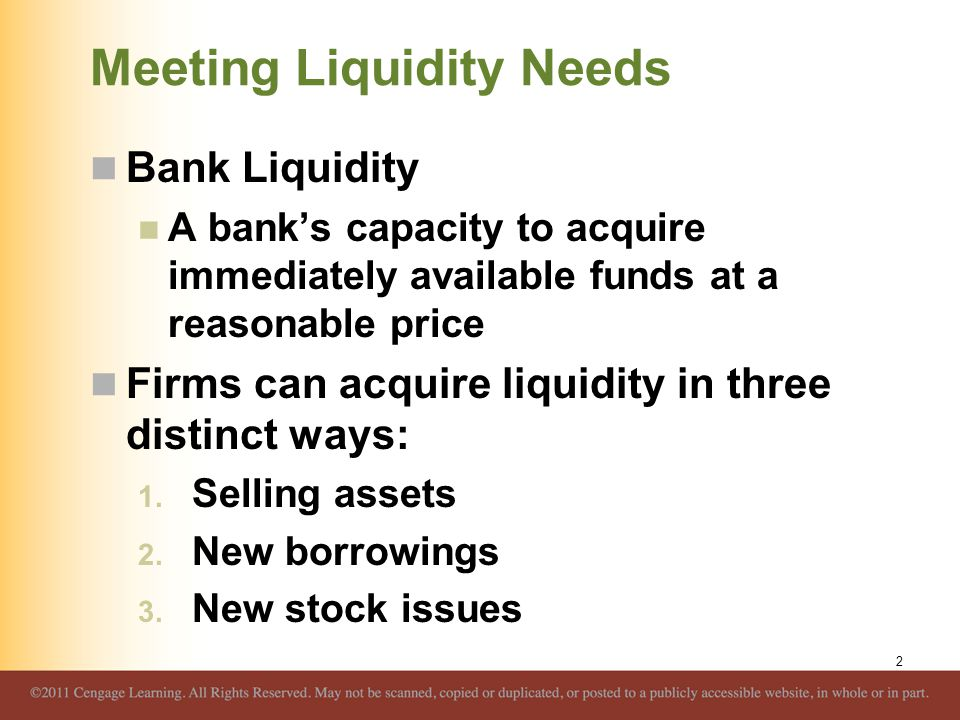 Meeting Liquidity Needs Bank Liquidity A bank's capacity to acquire immediately available funds at a reasonable price Firms can acquire liquidity in t