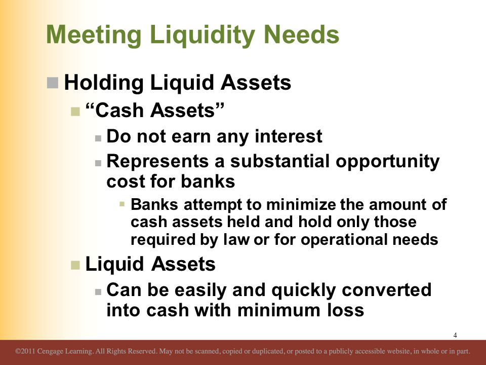 "Meeting Liquidity Needs Holding Liquid Assets ""Cash Assets"" Do not earn any interest Represents a substantial opportunity cost for banks  Banks attem"