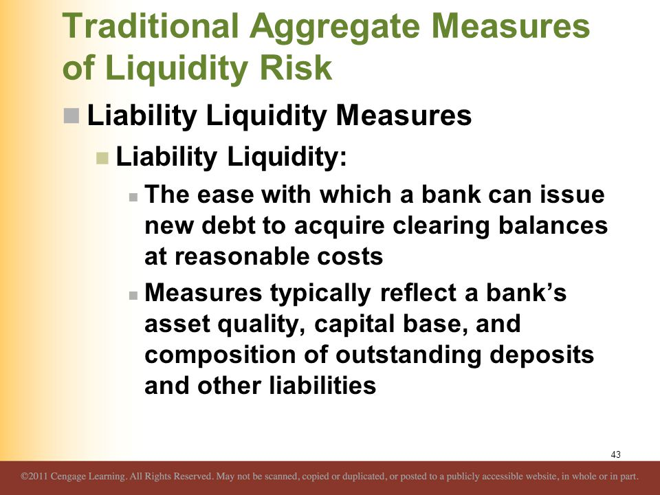 Traditional Aggregate Measures of Liquidity Risk Liability Liquidity Measures Liability Liquidity: The ease with which a bank can issue new debt to ac