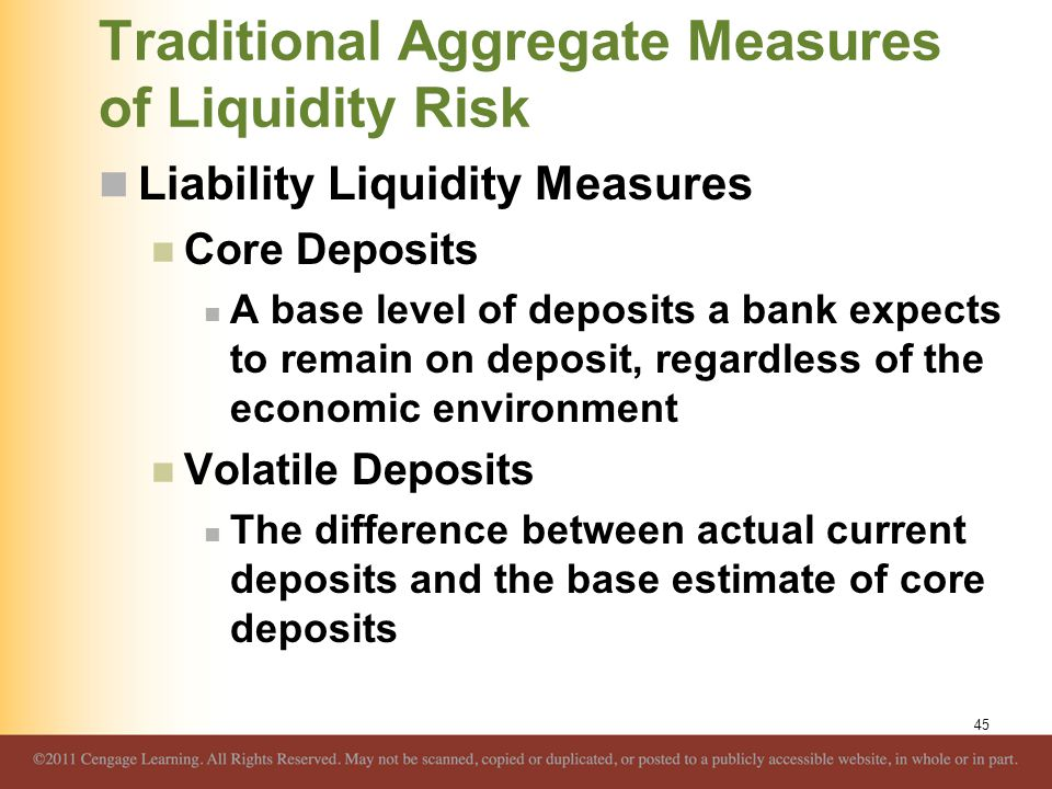 Traditional Aggregate Measures of Liquidity Risk Liability Liquidity Measures Core Deposits A base level of deposits a bank expects to remain on depos