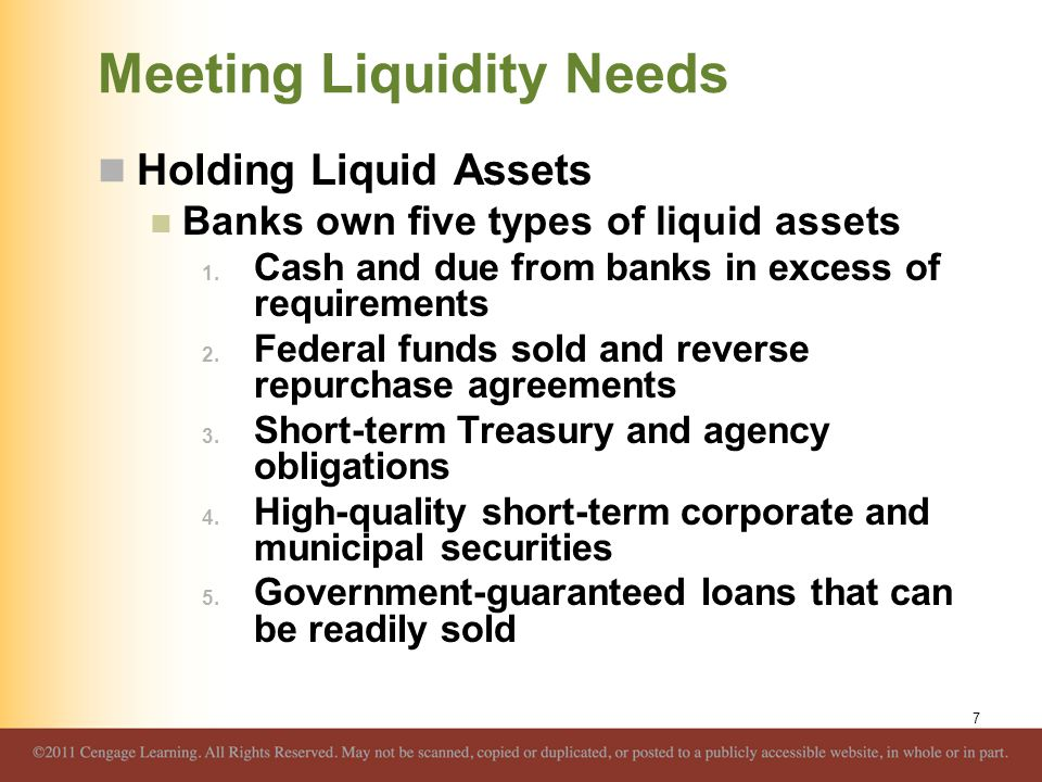 Meeting Liquidity Needs Holding Liquid Assets Banks own five types of liquid assets 1. Cash and due from banks in excess of requirements 2. Federal fu