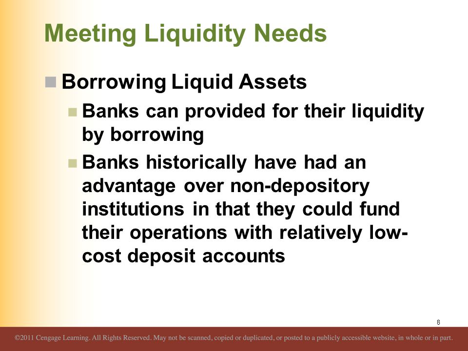 Meeting Liquidity Needs Borrowing Liquid Assets Banks can provided for their liquidity by borrowing Banks historically have had an advantage over non-
