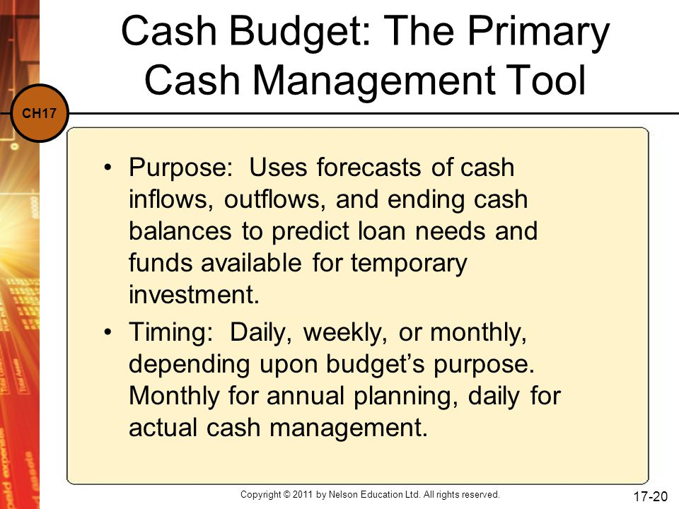 CH17 Copyright © 2011 by Nelson Education Ltd. All rights reserved. 17-20 Cash Budget: The Primary Cash Management Tool Purpose: Uses forecasts of cas