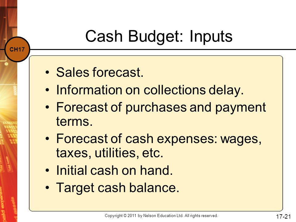 CH17 Copyright © 2011 by Nelson Education Ltd. All rights reserved. 17-21 Cash Budget: Inputs Sales forecast. Information on collections delay. Foreca