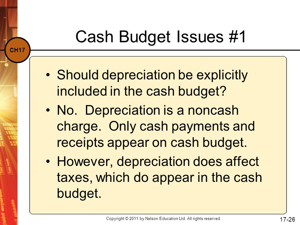 CH17 Copyright © 2011 by Nelson Education Ltd. All rights reserved. 17-26 Cash Budget Issues #1 Should depreciation be explicitly included in the cash