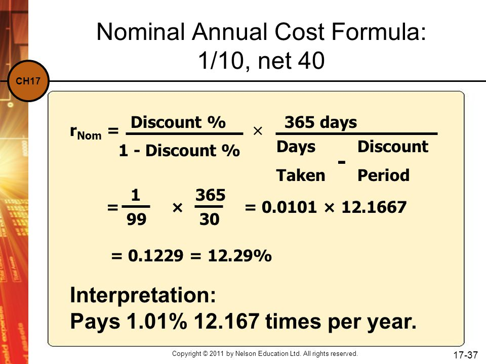 CH17 Copyright © 2011 by Nelson Education Ltd. All rights reserved. 17-37 Nominal Annual Cost Formula: 1/10, net 40 Interpretation: Pays 1.01% 12.167