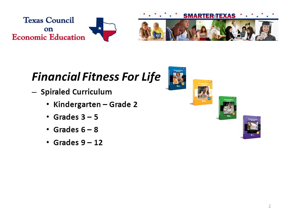 Financial Fitness For Life – Spiraled Curriculum Kindergarten – Grade 2 Grades 3 – 5 Grades 6 – 8 Grades 9 – 12 2