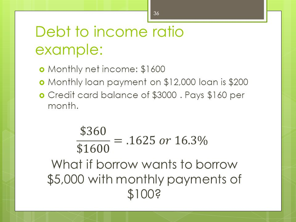 Debt to income ratio example: 36