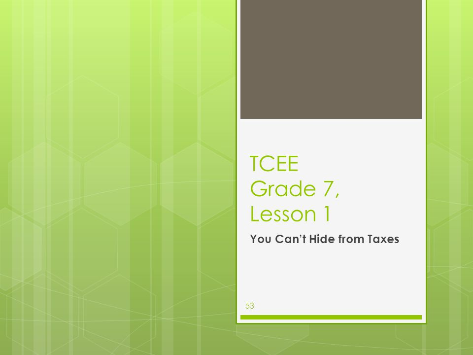 TCEE Grade 7, Lesson 1 You Can't Hide from Taxes 53