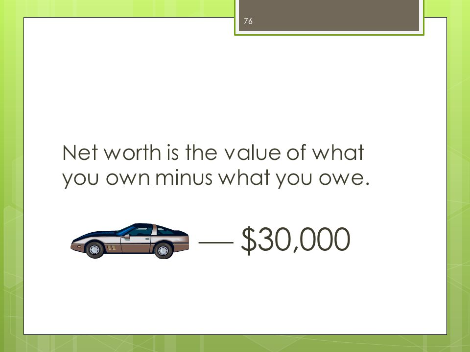 Net worth is the value of what you own minus what you owe.  $30,000 76