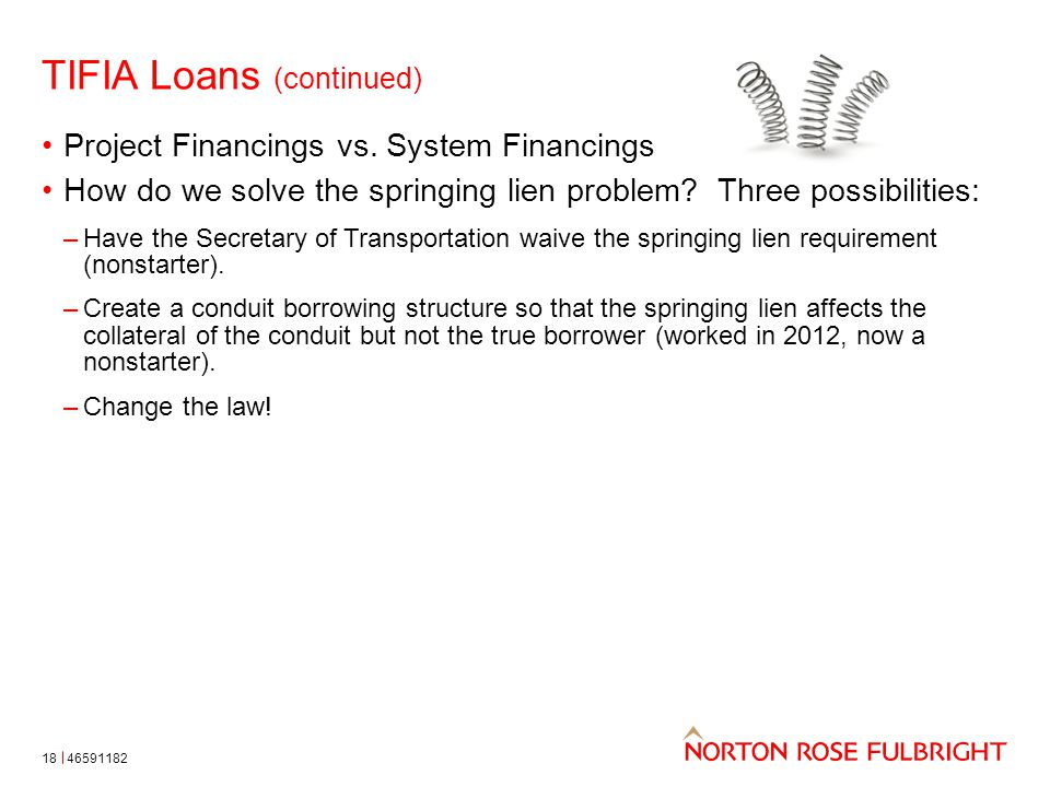 TIFIA Loans (continued) 18 Project Financings vs.