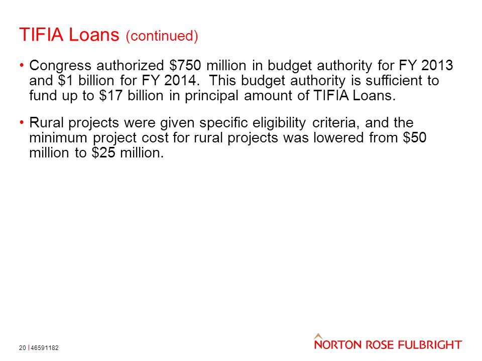 TIFIA Loans (continued) 20 Congress authorized $750 million in budget authority for FY 2013 and $1 billion for FY 2014.