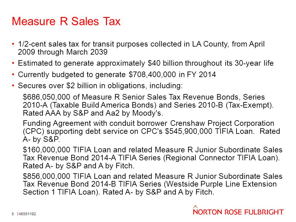 Measure R Sales Tax 1/2-cent sales tax for transit purposes collected in LA County, from April 2009 through March 2039 Estimated to generate approximately $40 billion throughout its 30-year life Currently budgeted to generate $708,400,000 in FY 2014 Secures over $2 billion in obligations, including: $686,050,000 of Measure R Senior Sales Tax Revenue Bonds, Series 2010-A (Taxable Build America Bonds) and Series 2010-B (Tax-Exempt).