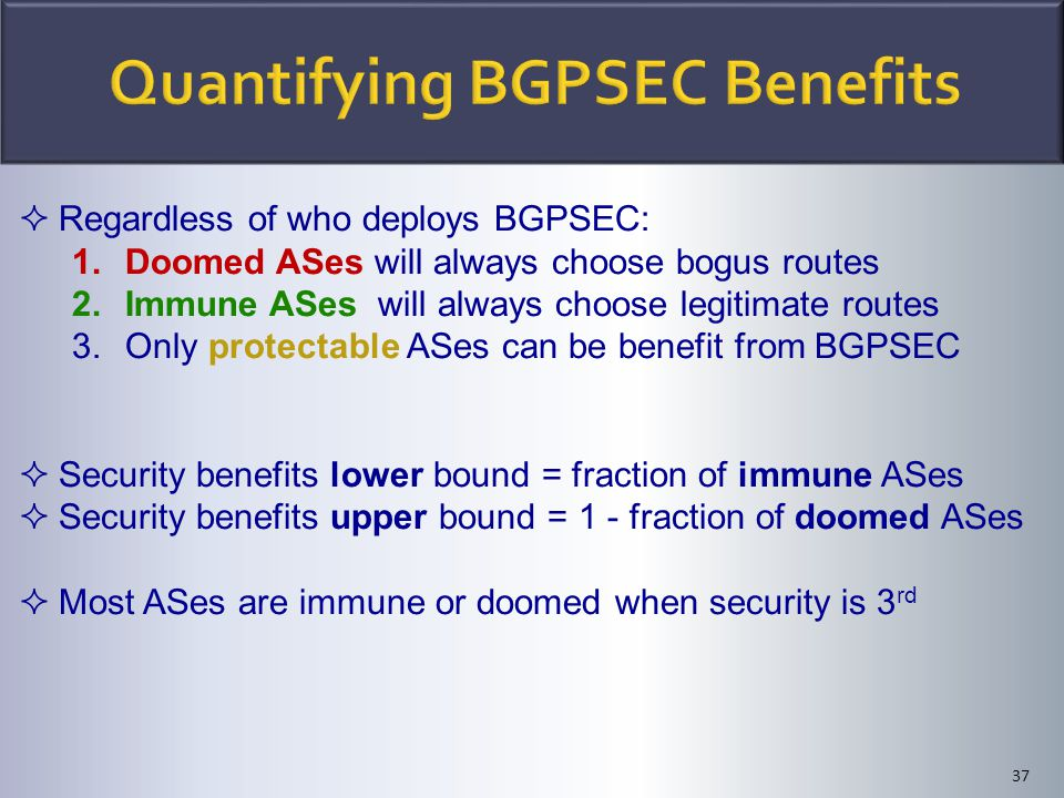 37  Regardless of who deploys BGPSEC: 1.Doomed ASes will always choose bogus routes 2.Immune ASes will always choose legitimate routes 3.Only protect