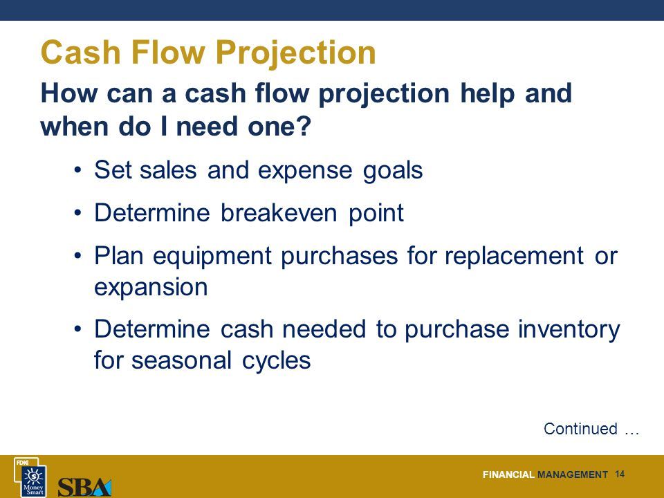 FINANCIAL MANAGEMENT 14 Cash Flow Projection How can a cash flow projection help and when do I need one.