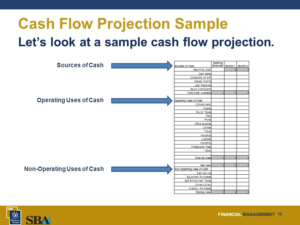FINANCIAL MANAGEMENT 16 Cash Flow Projection Sample Let's look at a sample cash flow projection.