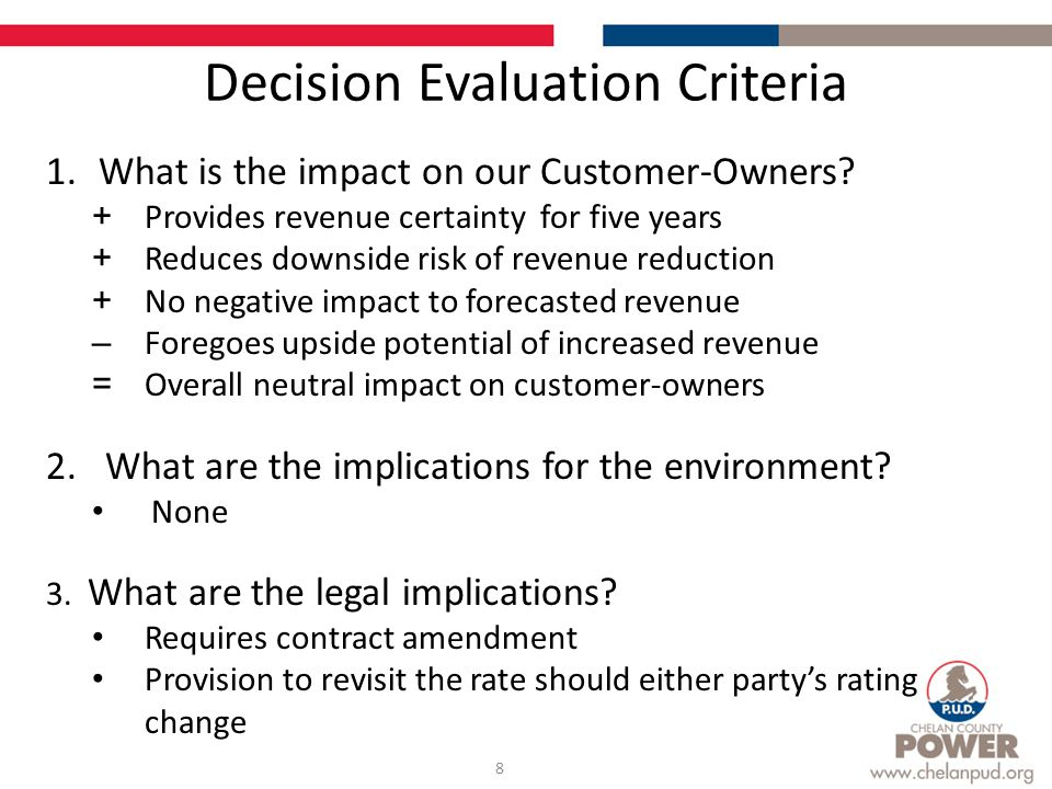 Decision Evaluation Criteria 8 1.What is the impact on our Customer-Owners? + Provides revenue certainty for five years + Reduces downside risk of rev