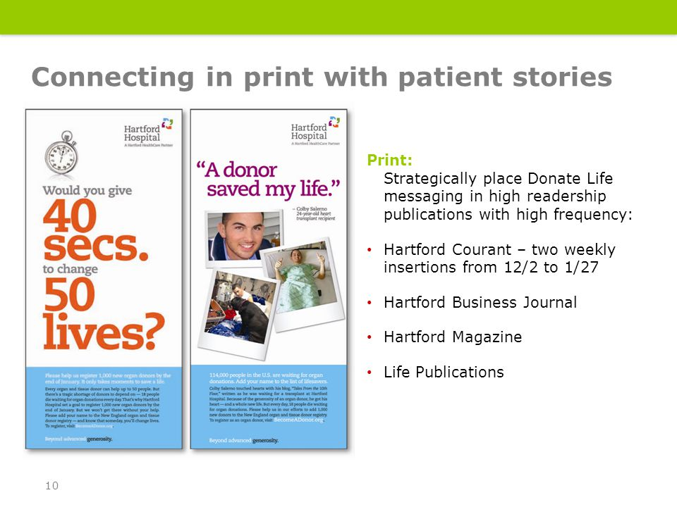 Print: Strategically place Donate Life messaging in high readership publications with high frequency: Hartford Courant – two weekly insertions from 12/2 to 1/27 Hartford Business Journal Hartford Magazine Life Publications Connecting in print with patient stories 10