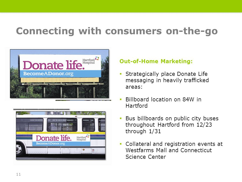 Out-of-Home Marketing:  Strategically place Donate Life messaging in heavily trafficked areas:  Billboard location on 84W in Hartford  Bus billboards on public city buses throughout Hartford from 12/23 through 1/31  Collateral and registration events at Westfarms Mall and Connecticut Science Center Connecting with consumers on-the-go 11