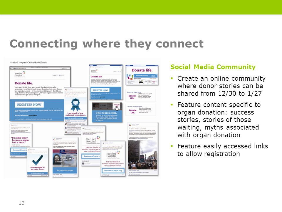 Social Media Community  Create an online community where donor stories can be shared from 12/30 to 1/27  Feature content specific to organ donation: success stories, stories of those waiting, myths associated with organ donation  Feature easily accessed links to allow registration Connecting where they connect 13