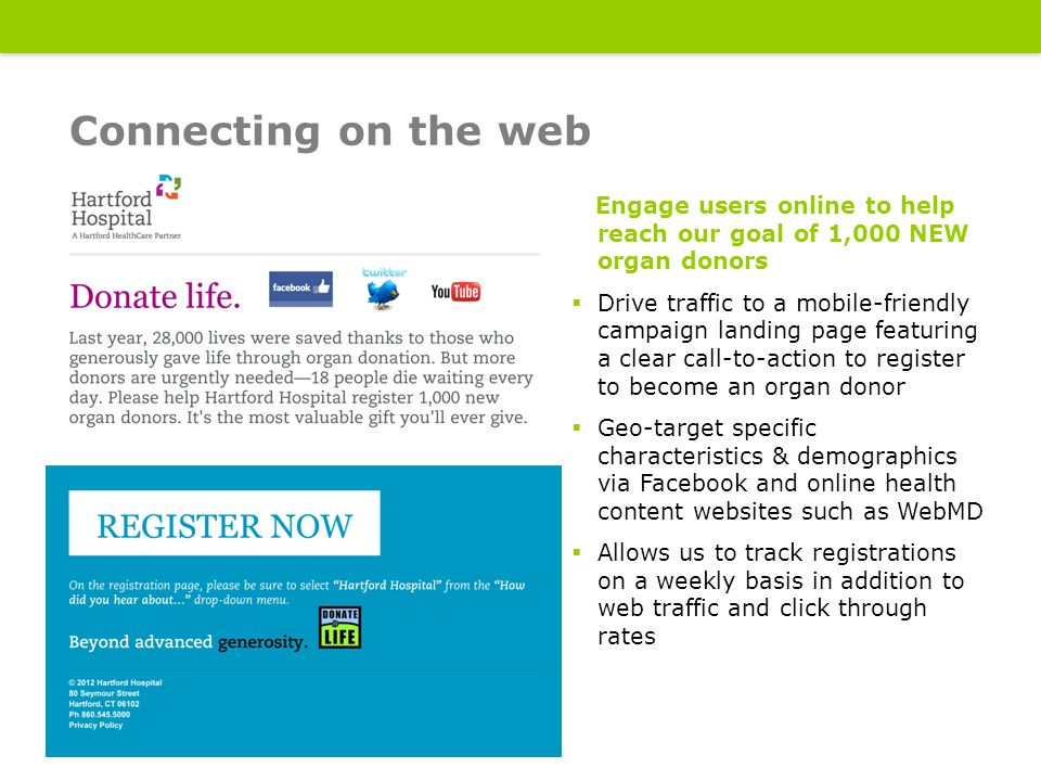 Engage users online to help reach our goal of 1,000 NEW organ donors  Drive traffic to a mobile-friendly campaign landing page featuring a clear call-to-action to register to become an organ donor  Geo-target specific characteristics & demographics via Facebook and online health content websites such as WebMD  Allows us to track registrations on a weekly basis in addition to web traffic and click through rates Connecting on the web 14