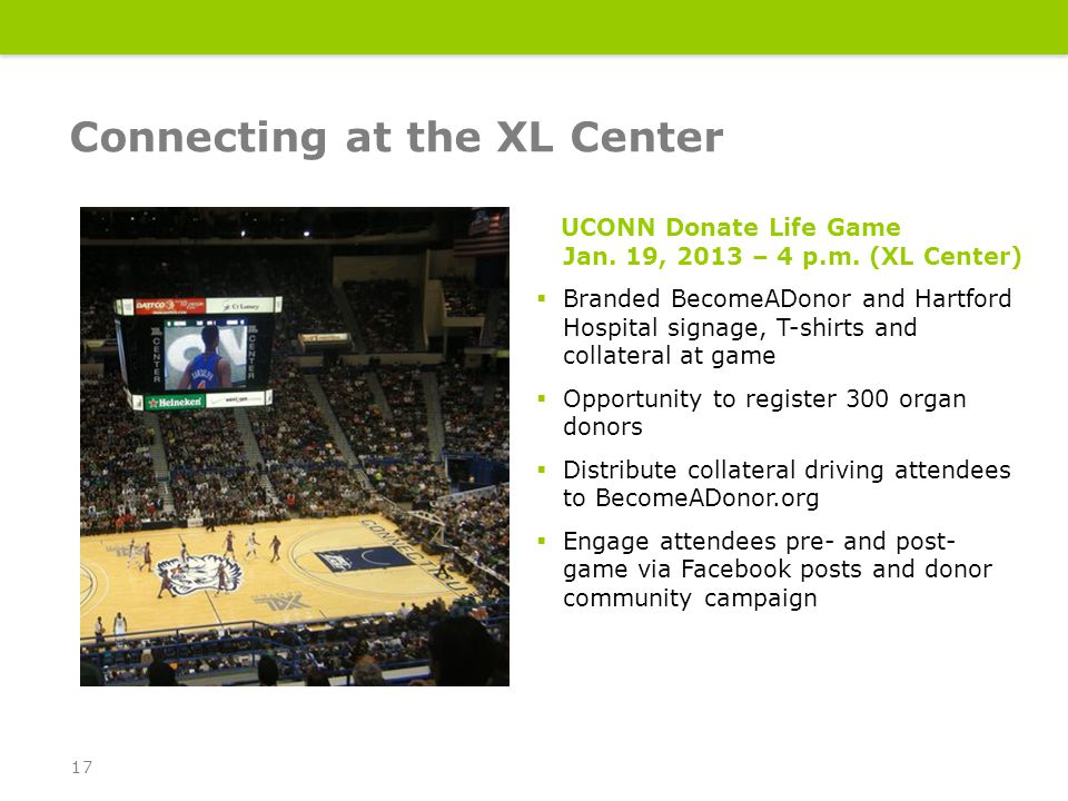 UCONN Donate Life Game Jan. 19, 2013 – 4 p.m.