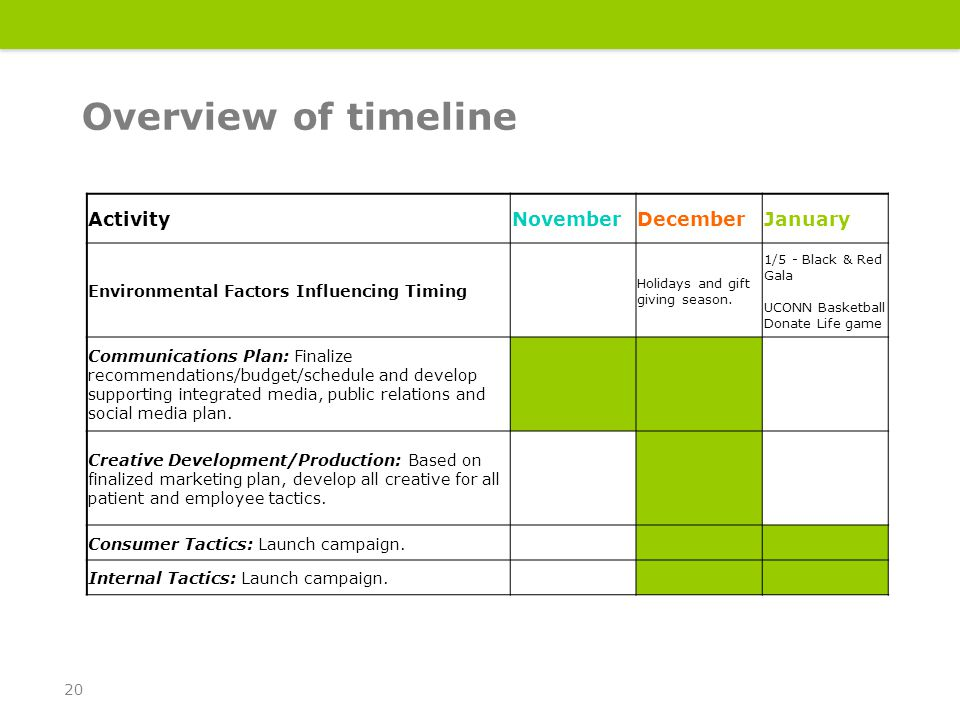Overview of timeline 20 ActivityNovemberDecemberJanuary Environmental Factors Influencing Timing Holidays and gift giving season.