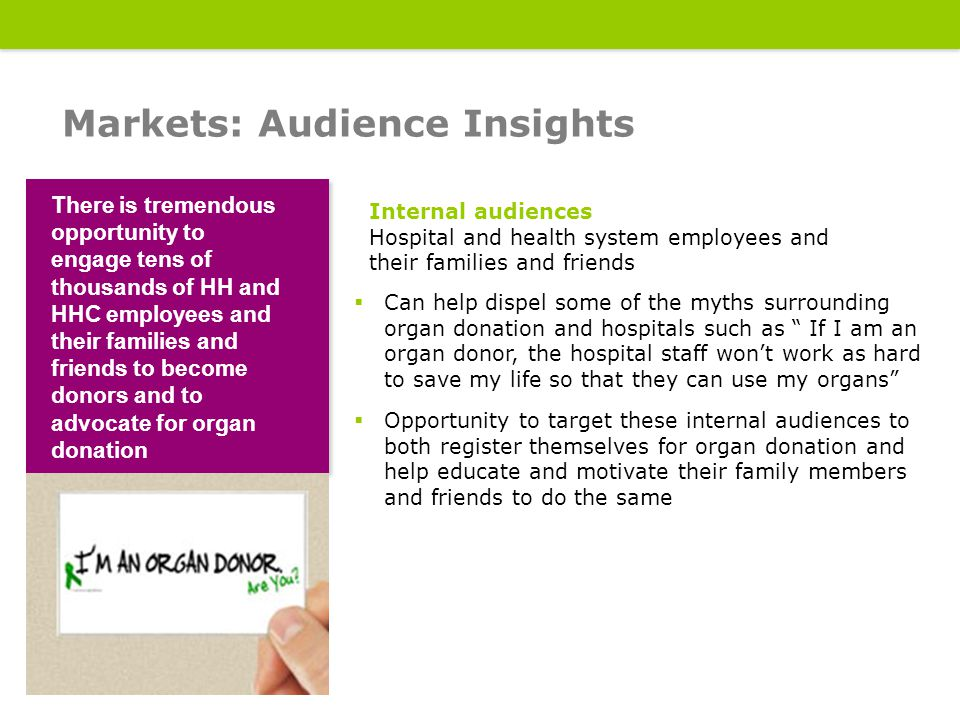 18 Measures: Track, monitor and evaluate 18  Number of new organ donor registrants  Level of employee participation  Traffic to landing page  Social media engagement  Ratings for live show