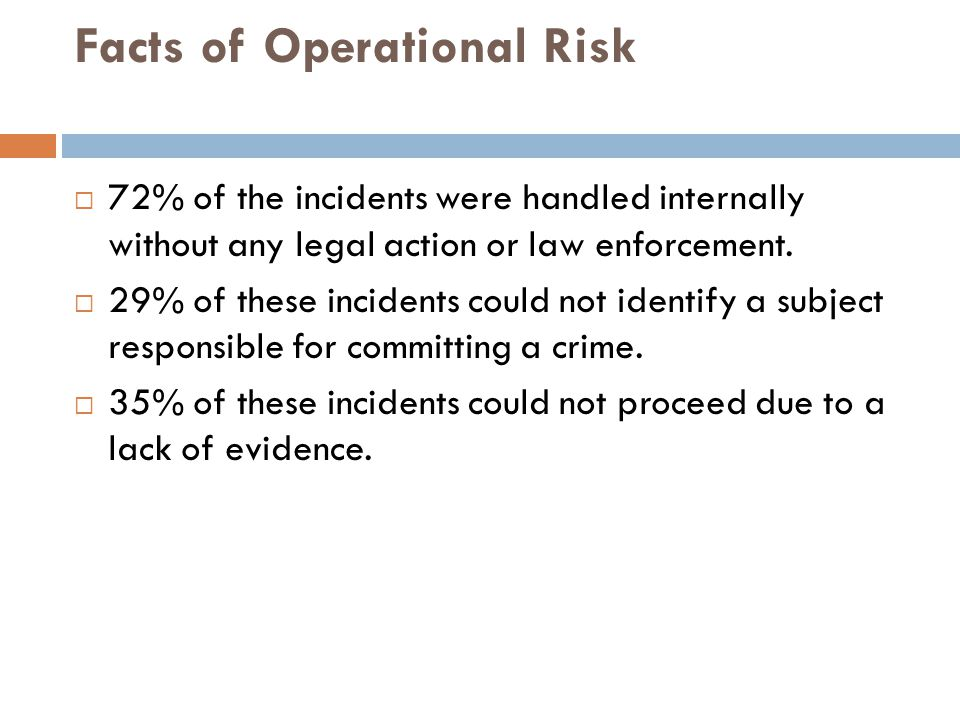 Facts of Operational Risk  72% of the incidents were handled internally without any legal action or law enforcement.  29% of these incidents could n