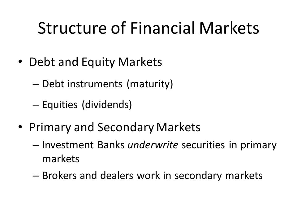 Structure of Financial Markets (cont'd) Exchanges and Over-the-Counter (OTC) Markets – Exchanges: NYSE, Sofia Stock exchange, etc.