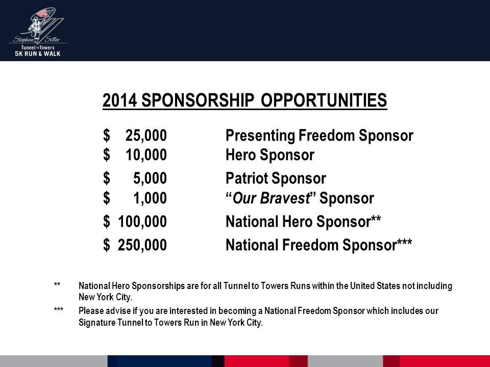 """2014 SPONSORSHIP OPPORTUNITIES $ 25,000Presenting Freedom Sponsor $ 10,000Hero Sponsor $ 5,000Patriot Sponsor $ 1,000"""" Our Bravest """" Sponsor $ 100,000"""