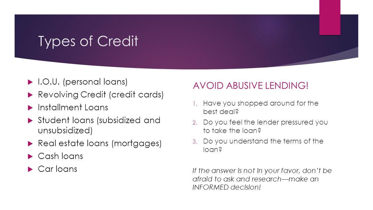 Types of Credit  I.O.U.