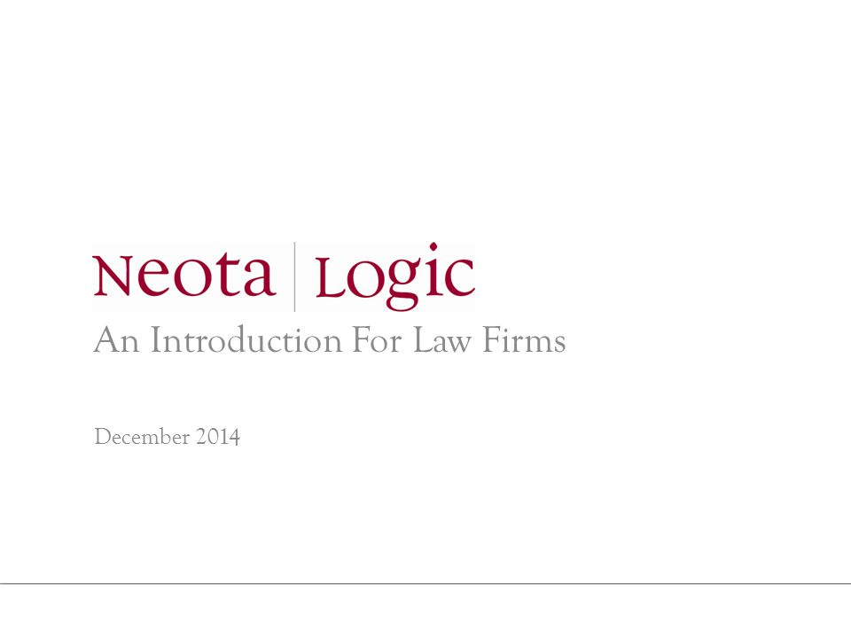An Introduction For Law Firms December 2014