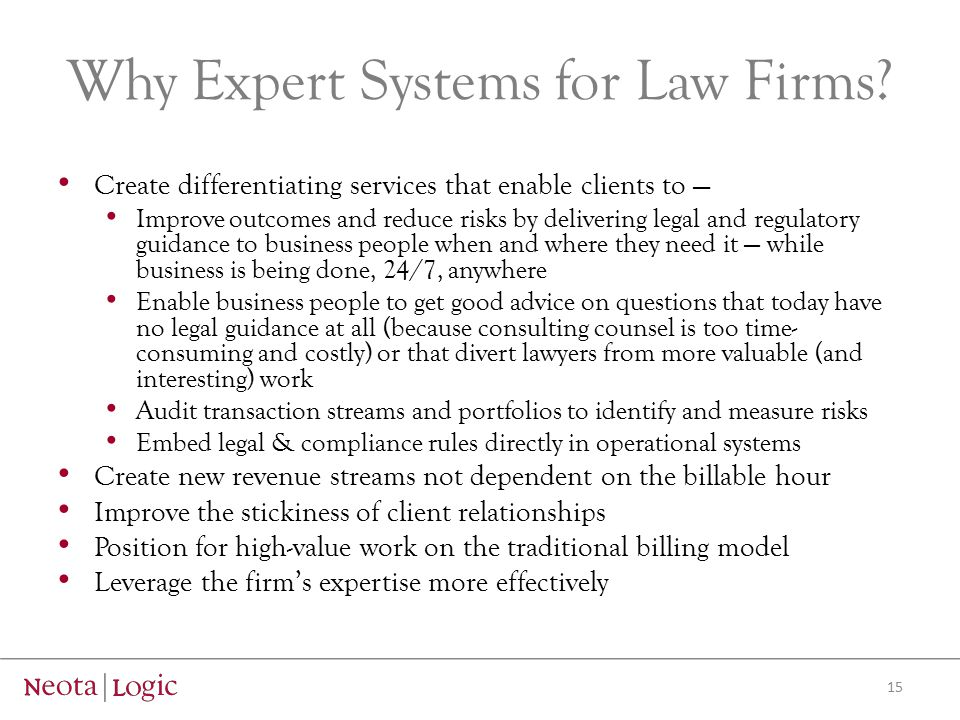 Why Expert Systems for Law Firms.